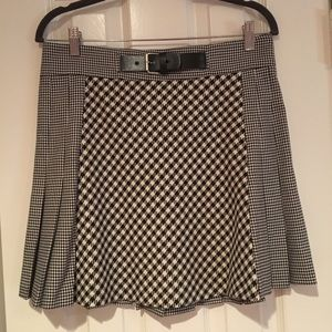 Zara Houndstooth Print Mini Skirt Black Cream NWT